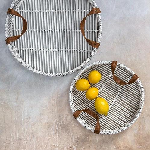White Bamboo Nesting Tray Set