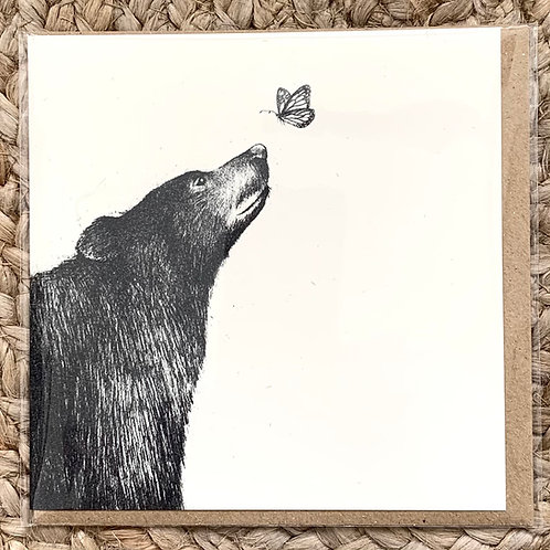 Bear and Butterfly - Greetings Card by Esther Connon