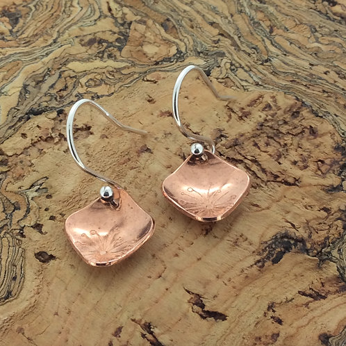 Copper Square Shape Botanical Drop Earrings