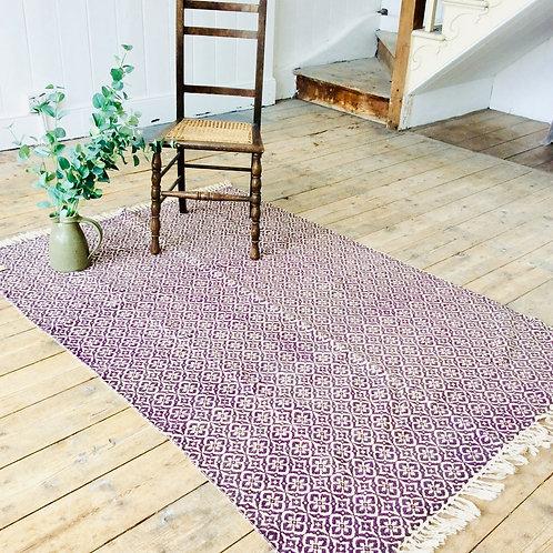 Mauve Floral Pattern Rug