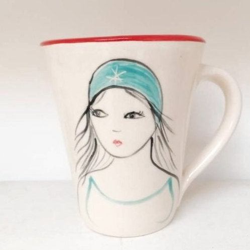 Red Swimmer Mug by Lucie Sivicka