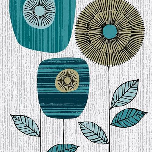 Blue Block Flowers  Print by Eloise Renouf - Framed