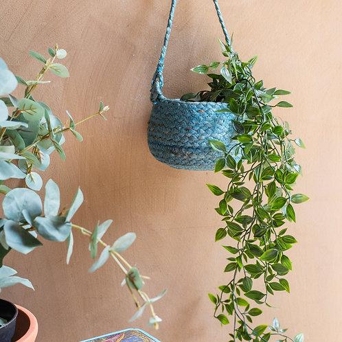 Coastal Blue Jute Hanging Basket