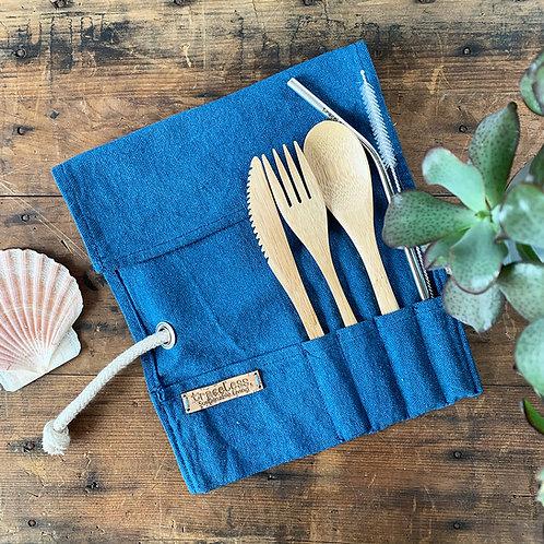 Bamboo Cutlery Wrap in Blue