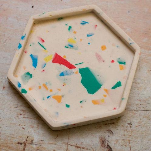 Terrazzo Hexagon Coaster / Tray - Rainbow Collection