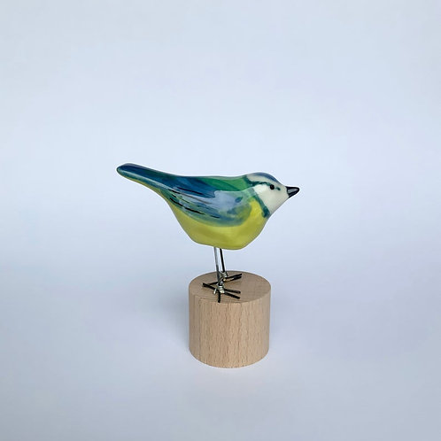 Blue Tit, garden bird, porcelain ornament by Julia Crimmen