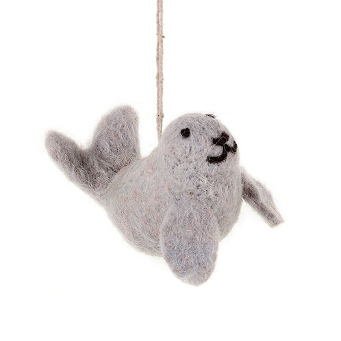 Handmade Needle Felt Grey Seal