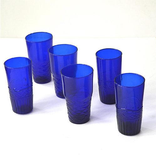 Blue Glass Tumblers-Water Glasses- Set of 6