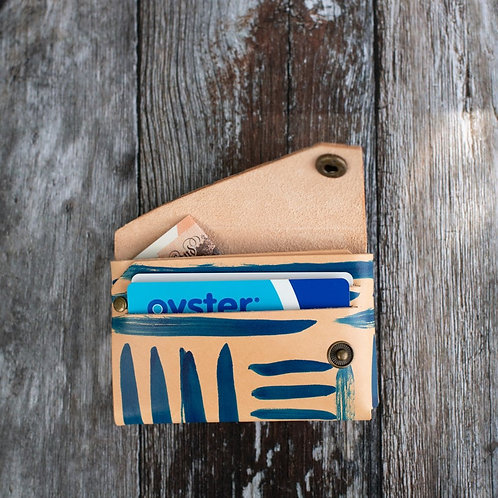 Blue Ink Stripe Leather Wallet