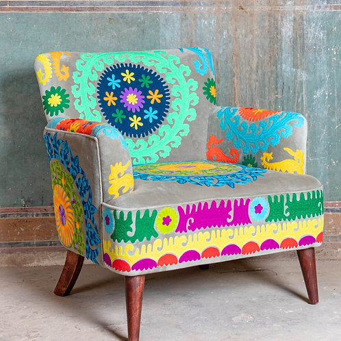 Multi Coloured Embroidered Velvet Arm Chair  Click & Collect Only *see descripti