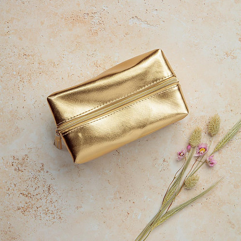 Gold Metallic Fabric Make Up Bag