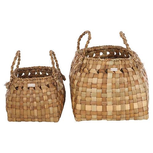 Square Sea Grass Baskets-Handle-Tassel- Choose Size