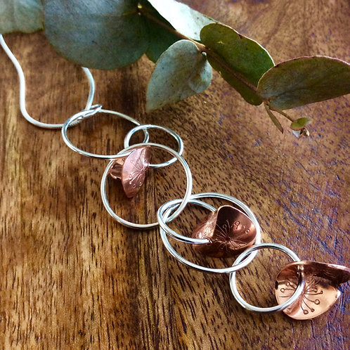 Sterling Silver & Copper Eucalyptus Waterfall Necklace (Commission only)