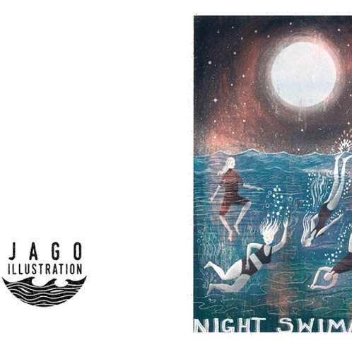 Night Swimmers Greeting Card
