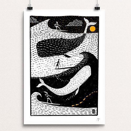 Big Whale Surfers A3 Print by Jago Silver