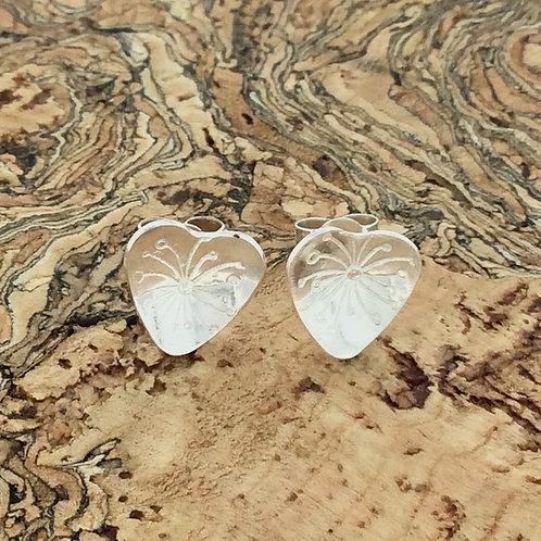 Heart Stud Earrings  (Silver or Copper)