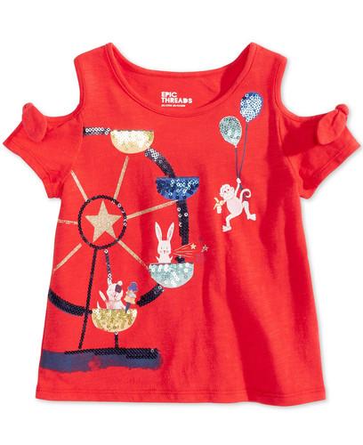 a3cef3d5 Epic Threads Little Girls Sequin Cold Shoulder T-Shirt