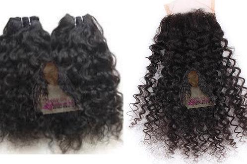 Raw Curly Bundles + Closure Deal