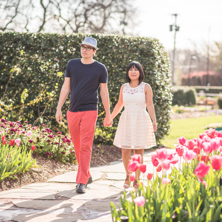 Engagement at the Dallas Arboretum: Adelfa + Joseph