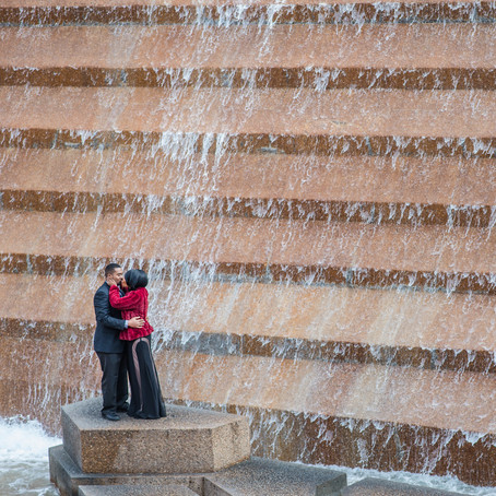 Engagement at the Fort Worth Water Gardens: Janeisha + Therral