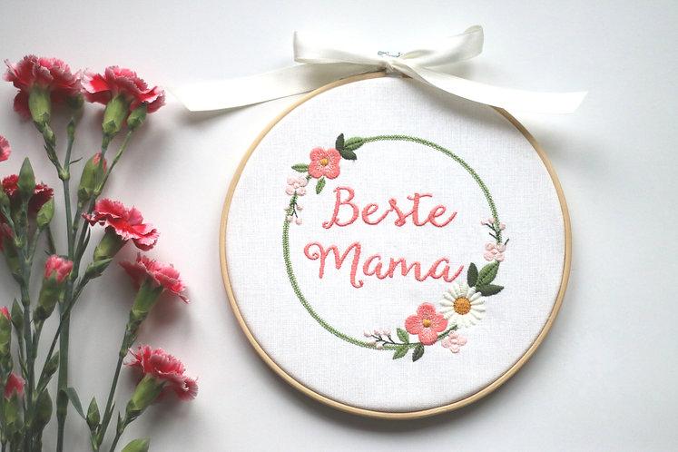 """Stickrahmen/Stickbild """"Beste Mama"""", auch individualisierbar mit Namen"""