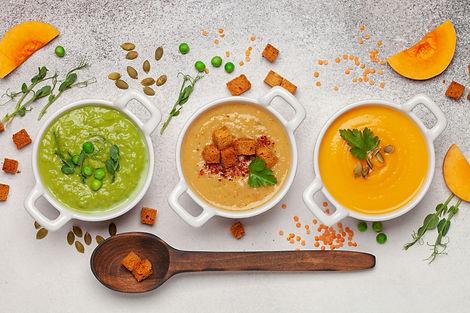 Set of vegetables soups. Pumpkin , green