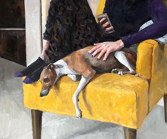 Dante on the yellow chair, oil on canvas