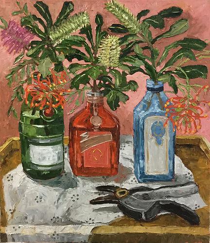 Bottles and Banksias_Oil on birch panel_70cm x 60cm_$1400- (framed).jpg
