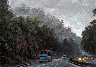 Mount Ousley in Fog, 30cm x 21cm, acryli