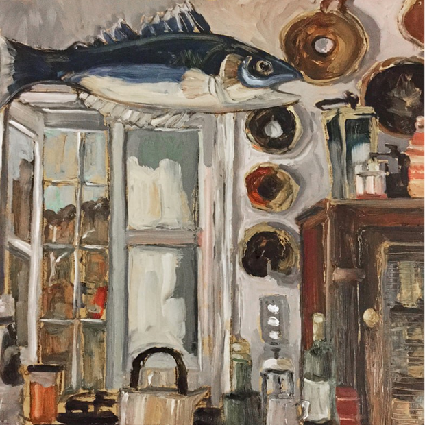 'Kitchen Still Life with Flying Fish'