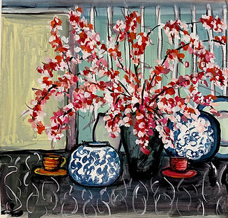 blossoms on the table . gouache on paper