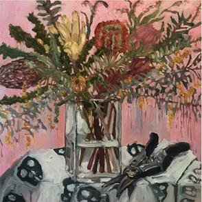 'Flowers & Secateurs on Skull Cloth'