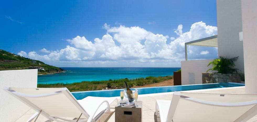 Private infinity edge lap pool with ocean views