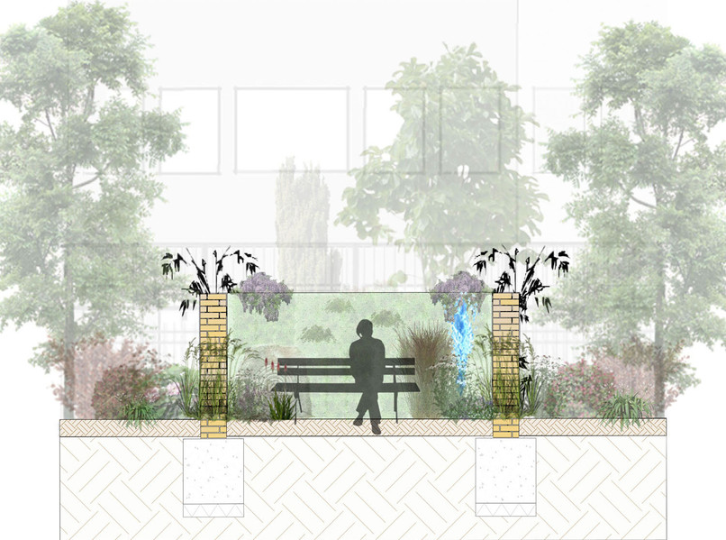 Inside one of the Meditation Pod Gardens
