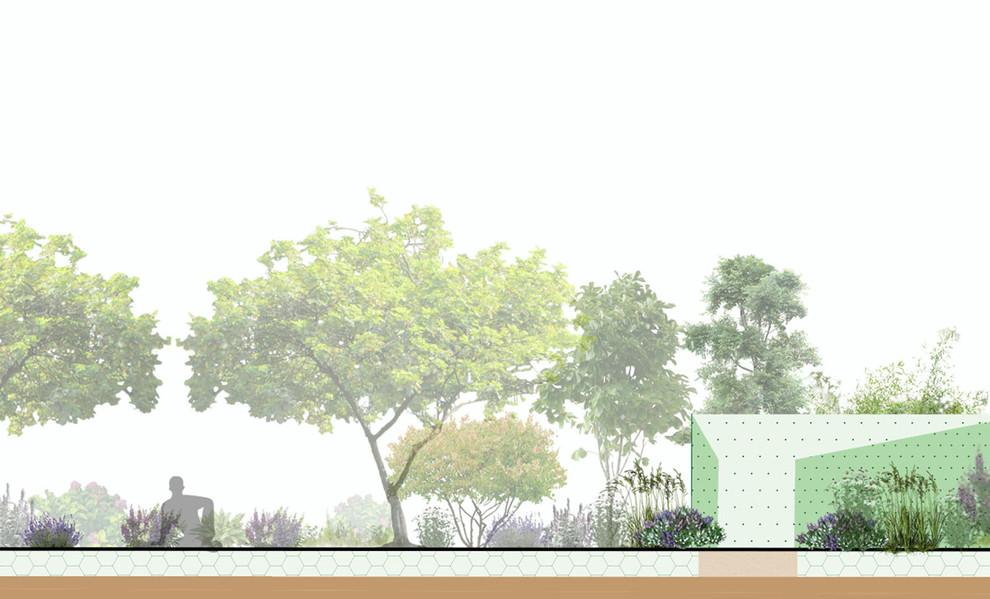 The Meditation Pod Gardens are set in the Spring Garden