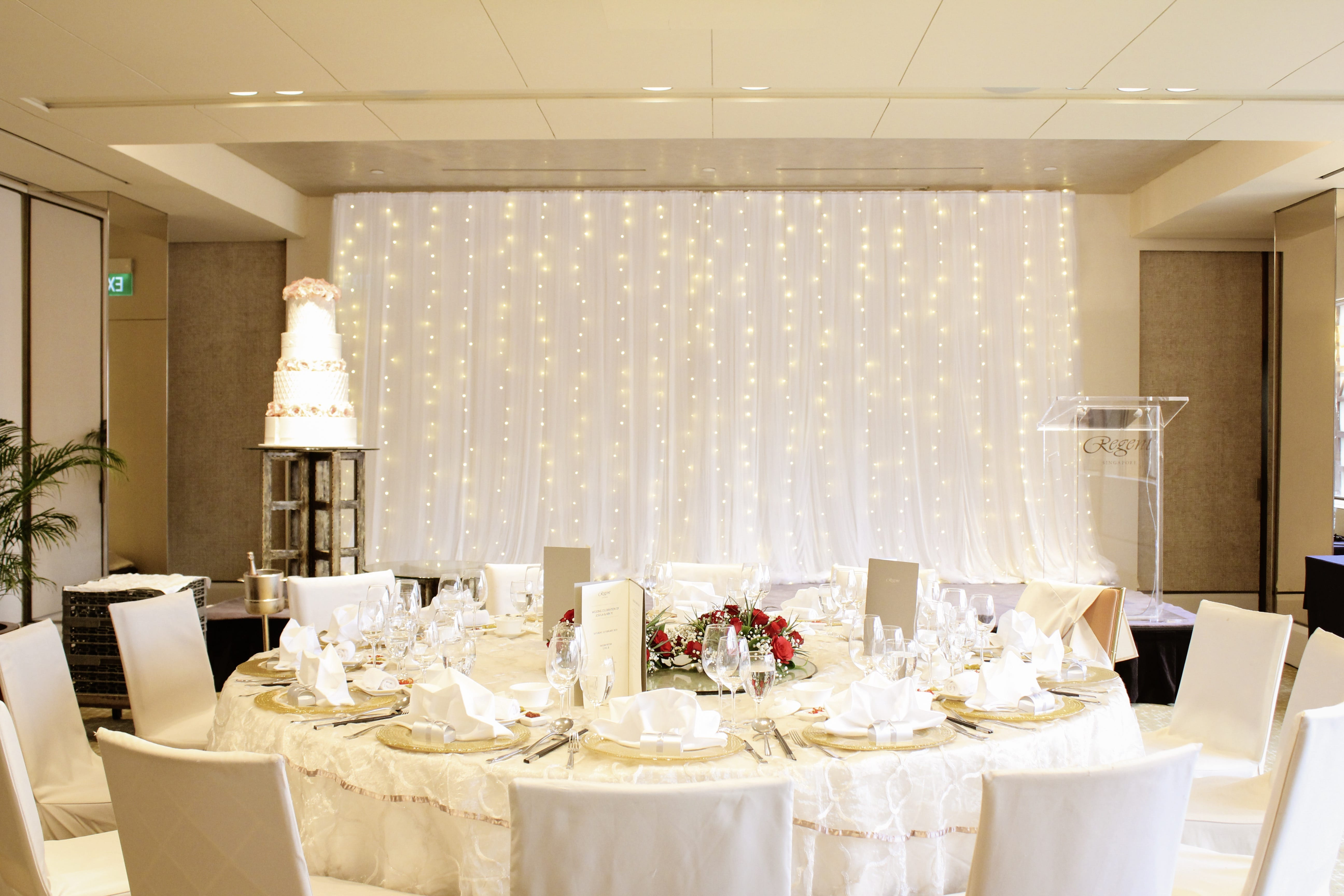 stage fairy lights wedding