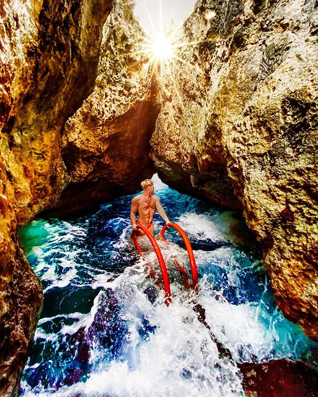 This beautiful swimming cave is right un