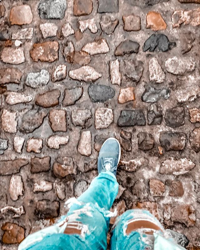 Rolling luggage across these cobblestone