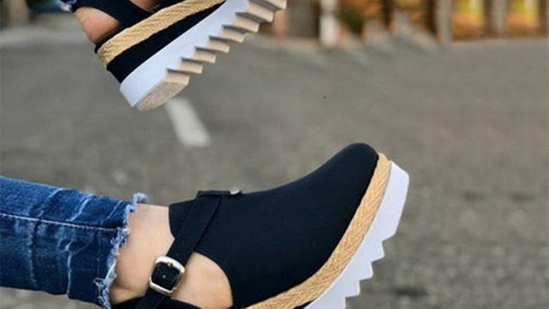 Women's Sandals Vintage Wedge Shoes Woman Buckle Strap Thick Bottom  Platform