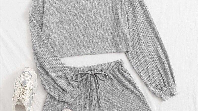 SHEIN Drop Shoulder Rib-Knit Tee and Drawstring Waist Shorts