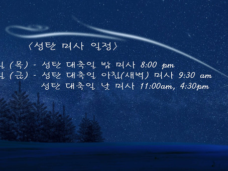성탄 미사 일정 & 2021년 달력 배부