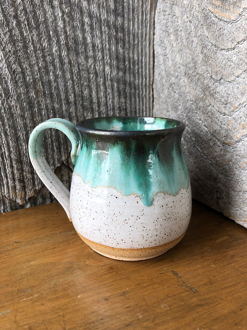 No. 29 Speckled White and Drippy Green Mugs