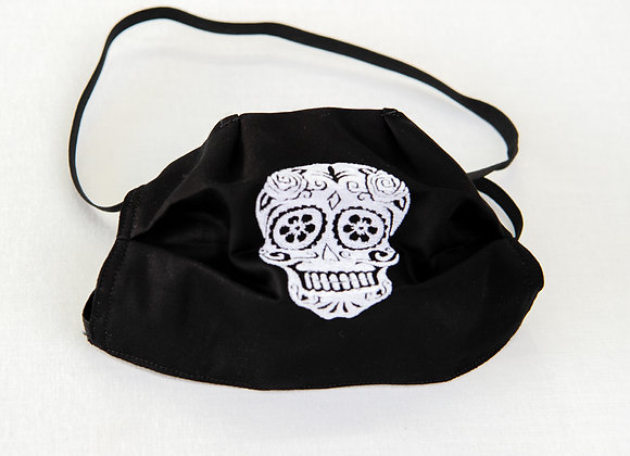 White Sugar Skull Mask on Black