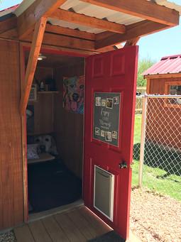 Dog boarding cabin entry
