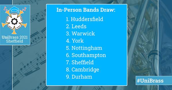 UniBrass 2021 Draw: 1) Huddersfield, 2) Leeds, 3) Warwick, 4) York, 5) Nottingham, 6) Southampton, 7) Sheffield, 8) Cambridge, 9) Durham