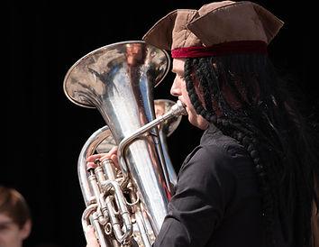 Cambridge University Brass Band Euphonium player at UniBrass 2021 (c) Joy Newbould