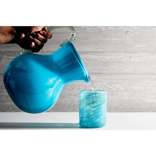 Handblown Glass Pitcher Aqua