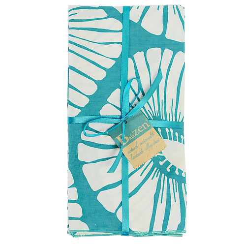 Aqua & Turquoise Print & Solid Cotton Napkins, Sets of 4