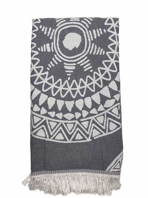 Mandala Beach Towel Grey