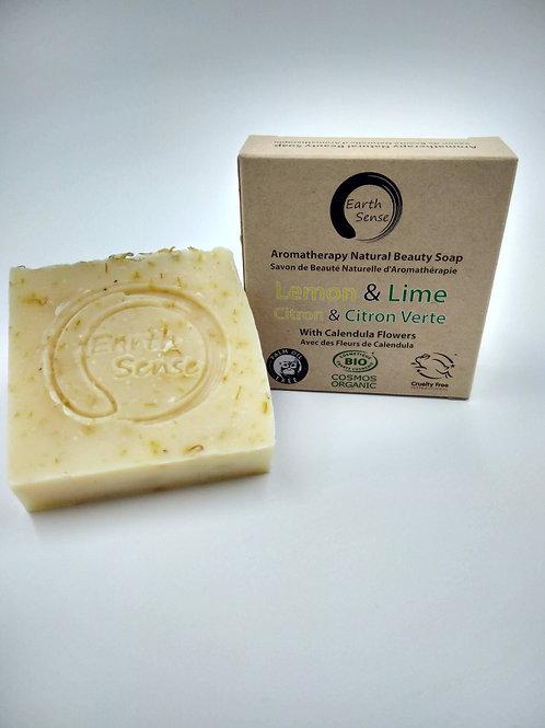 Organic Solid Soap - Lemon & Lime with Calendula Flowers